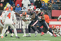 FOXBOROUGH, MA - OCTOBER 27: New England Patriots Runningback Brandon Bolden #38 on the kick return with ;Cleveland Browns Runningback Dontrell Hilliard #25 and Cleveland Browns Kicker Austin Seibert #4 ready to block during a game between Cleveland Browns and New Enlgand Patriots at Gillettes on October 27, 2019 in Foxborough, Massachusetts.