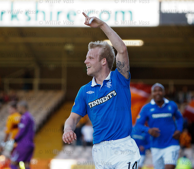 Steven Naismith celebrates scoring goal no 4 for Rangers