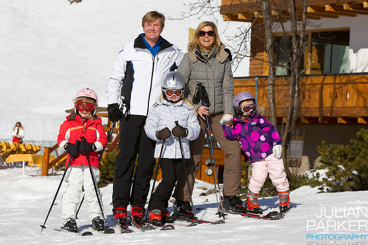 Crown Prince Willem Alexander, and Crown Princess Maxima of Holland with Daughters, Princess Alexia ( left ), Princess Catharina Amalia ( centre) and Princess Ariane ( right ) attend a Photocall with Members of The Dutch Royal Family during their Winter Ski Holiday in Lech Austria