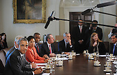United States President Barack Obama makes remarks to the media during a Cabinet Meeting in the Cabinet Room of the White House, September 12, 2013 in Washington, DC.<br /> Credit: Olivier Douliery / Pool via CNP