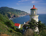 Siuslaw National Forest, OR      <br /> Heceta Head lighthouse and headlands of the Oregon coast above Devil's Elbow State Park