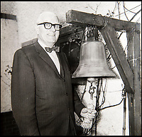 BNPS.co.uk (01202 558833)Pic: HAldridge/BNPS<br /> <br /> Treasure Jones kept the bell from the Mauretania to be used as a doorbell at his home in Southampton.<br /> <br /> The archive of one of Britains most famous mariners is sailing in to auction at HAldridge in Devizes in Wiltshire.<br /> <br /> Capt John Treasure Jones captained the Mauretania, and Queen Elizabeth before commanding the Queen Mary on her final Atlantic crossing in 1967.<br /> <br /> During WW2 he was torpedoed off Ireland before captaining a Sunflower class Corvette, he finished the war serving under Mountbatten in the Far East.