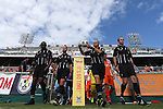 04 July 2015: Match officals lead the players onto the field. From left: Assistant Referee Kevin Roberts, Fourth Official David Erbacher, Referee Robert Sibiga, and Assistant Referee Rick Rogers. The Carolina RailHawks hosted Minnesota United FC at WakeMed Stadium in Cary, North Carolina in a North American Soccer League 2015 Fall Season match. Carolina won the game 3-1.