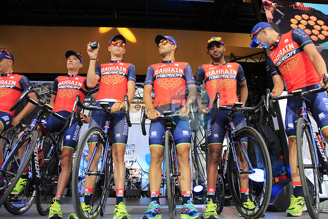 Bahrain-Merida on stage at the Team Presentation in Burgplatz Dusseldorf before the 104th edition of the Tour de France 2017, Dusseldorf, Germany. 29th June 2017.<br /> Picture: Eoin Clarke | Cyclefile<br /> <br /> <br /> All photos usage must carry mandatory copyright credit (&copy; Cyclefile | Eoin Clarke)