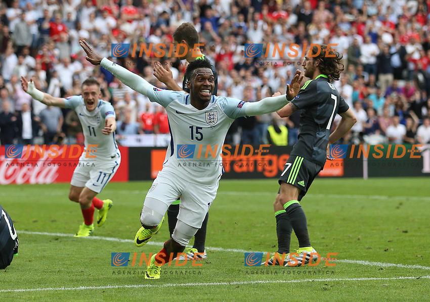 Daniel Sturridge celebrates scoring 2-1 Esultanza Gol <br /> Lens 16-06-2016 Stade Bollaert-Delelis Footballl Euro2016 England - Wales / Inghilterra - Galles Group Stage Group B. Foto David Klein/Sportimage / Insidefoto