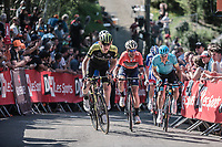 Jack Haig (AUS/Mitchelton Scott) and Vicenzo Nibali (ITA/Bahrain Merida) setting the pace while the 2nd run up of the infamous Mur de Huy. <br /> <br /> 82nd La Fl&egrave;che Wallonne 2018<br /> 1 Day Race: Seraing - Huy (198,5km)