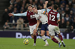 Tottenham's Harry Kane is challenged by Burnley's Jeff Hendrick (L) and Robbie Brady during the Premier League match at the Tottenham Hotspur Stadium, London. Picture date: 7th December 2019. Picture credit should read: Paul Terry/Sportimage