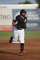 Robinson Medrano (12) of the Salem-Keizer Volcanoes runs the bases during a game against the Eugene Emeralds at Volcanoes Stadium on July 24, 2017 in Keizer, Oregon. Eugene defeated Salem-Keizer, 7-6. (Larry Goren/Four Seam Images)