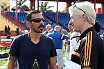 09 January 2015: Colorado Rapids head coach Pablo Mastroeni (left) and Houston Dynamo fitness coach Paul Caffrey (IRL) (right). The 2015 MLS Player Combine was held on the cricket oval at Central Broward Regional Park in Lauderhill, Florida.