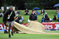 Ground Staff of Bay Oval bring in the covers as rain sets in during the Indian innings during the ICC U-19 Cricket World Cup 2018 Finals between India v Australia, Bay Oval, Tauranga, Saturday 03rd February 2018. Copyright Photo: Raghavan Venugopal / © www.Photosport.nz 2018 © SWpix.com (t/a Photography Hub Ltd)