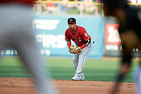 Cristhian Adames (13) of the Albuquerque Isotopes on defense against the Salt Lake Bees in Pacific Coast League action at Smith's Ballpark on June 10, 2017 in Salt Lake City, Utah. The Isotopes defeated the Bees 4-2. (Stephen Smith/Four Seam Images)