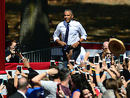 Philadelphia, PA - September 13, 2016: U.S. President Barack Obama walks onstage at the Eakins Oval park in Philadelphia, Pennsylvania, September 13, 2016, during a campaign stop in support of Hillary Clinton for president.  (Photo by Don Baxter/Media Images International)