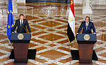 A handout picture made available by the Egyptian Presidency on September 19, 2015, shows Egyptian President Abdel Fattah al-Sisi listens to EU President Donald Tusk speak during a joint press conference in the capital Cairo. Photo by Egyptian President Office