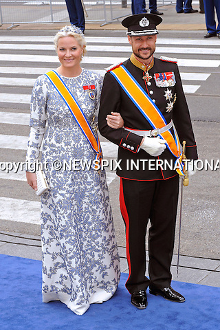 """30.04.2013; Amsterdam: KING WILLEM-ALEXANDER INAUGURATION.CROWN PRINCE HAAKON AND PRINCESS METTE-MARIT OF NORWAY.attend King Willem-Alexander's inauguration at Nieuwe Kerk, Amsterdam, The Netherlands, .Mandatory Credit Photos: ©NEWSPIX INTERNATIONAL..**ALL FEES PAYABLE TO: """"NEWSPIX INTERNATIONAL""""**..PHOTO CREDIT MANDATORY!!: NEWSPIX INTERNATIONAL(Failure to credit will incur a surcharge of 100% of reproduction fees)..IMMEDIATE CONFIRMATION OF USAGE REQUIRED:.Newspix International, 31 Chinnery Hill, Bishop's Stortford, ENGLAND CM23 3PS.Tel:+441279 324672  ; Fax: +441279656877.Mobile:  0777568 1153.e-mail: info@newspixinternational.co.uk"""
