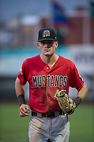 Billings Mustangs right fielder Bren Spillane (43) jogs off the field between innings of a Pioneer League game against the Ogden Raptors at Lindquist Field on August 17, 2018 in Ogden, Utah. The Billings Mustangs defeated the Ogden Raptors by a score of 6-3. (Zachary Lucy/Four Seam Images)