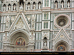 19th c Facade Main Portal Right Portal Detail Lunette Tympanum Rosette Window Sculptures of Virgin Mary and Apostles Santa Maria del Fiore Florence