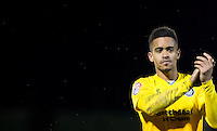 Paris Cowan-Hall of Wycombe Wanderers applauds the support during the Sky Bet League 2 match between Dagenham and Redbridge and Wycombe Wanderers at the London Borough of Barking and Dagenham Stadium, London, England on 9 February 2016. Photo by Andy Rowland.