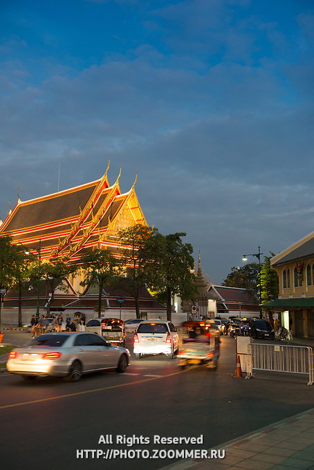 Buddist pagoda on the territory of Phra Buddhasaiyas temple, Bangkok, Thailand