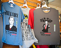 A New York souvenir store in Times Square on Friday, July 22, 2016 displays both Donald Trump and Hillary Clinton tee shirts. (© Richard B. Levine)