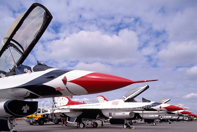 Abbotsford International Airshow, BC, British Columbia, Canada - US Air Force Thunderbirds F-16 Fighter Jet Aircraft on Display