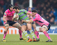 Newcastle Falcons' Maxime Mermoz in action during todays match<br /> <br /> Photographer Bob Bradford/CameraSport<br /> <br /> Anglo Welsh Cup Semi Final - Exeter Chiefs v Newcastle Falcons - Sunday 11th March 2018 - Sandy Park - Exeter<br /> <br /> World Copyright &copy; 2018 CameraSport. All rights reserved. 43 Linden Ave. Countesthorpe. Leicester. England. LE8 5PG - Tel: +44 (0) 116 277 4147 - admin@camerasport.com - www.camerasport.com