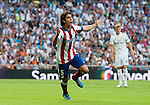 Atletico Madrid's Portuguese midfielder Tiago Mendes during the Spanish league football match Real Madrid CF vs Club Atletico de Madrid at the Santiago Bernabeu stadium in Madrid on September 13, 2014.  PHOTOCALL3000/DP
