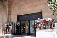 I. Magnin in Los Angeles. Designed by Myron Hunt. White marble building, Art Deco. Steel entrance.Photo Dec. 1987.