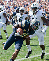 Pitt wide receiver Quadree Henderson scores. The Pitt Panthers defeated the Penn State Nittany Lions 42-39 at Heinz Field, Pittsburgh, Pennsylvania on September 10, 2016.