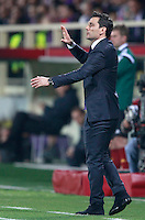 Calcio, ritorno degli ottavi di finale di Europa League: Fiorentina vs Juventus. Firenze, stadio Artemio Franchi, 20 marzo 2014. <br /> Fiorentina coach Vincenzo Montella gestures during the Europa League round of 16 second leg football match between Fiorentina and Juventus at Florence's Artemio Franchi stadium, 20 March 2014. Juventus won 1-0 to advance to the round of eight.<br /> UPDATE IMAGES PRESS/Isabella Bonotto