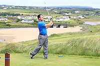 Jordan Hood (Galgorm Castle) on the 9th tee during Round 3 of The South of Ireland in Lahinch Golf Club on Monday 28th July 2014.<br /> Picture:  Thos Caffrey / www.golffile.ie