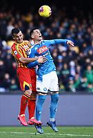 9th February 2020; Stadio San Paolo, Naples, Campania, Italy; Serie A Football, Napoli versus Lecce; Jose Maria Callejon of Napoli wins the header to clear his box