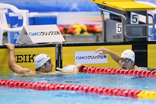 (L-R) Daiya Seto, Kosuke Hagino (JPN),<br /> MAY 23, 2015 - Swimming :<br /> Japan Open 2015<br /> Men's<br /> 400m individual medley<br /> Final<br /> at Tatsumi International Swimming Pool in Tokyo, Japan.<br /> (Photo by Yohei Osada/AFLO SPORT) [1156]