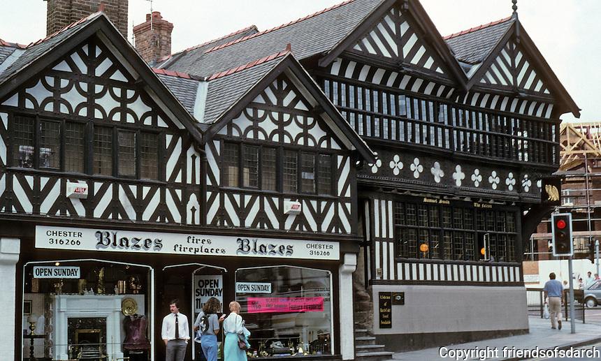 Chester: The Falcon Public House, lower Bridge Street, corner. A derelict, restored in 1983; won a Europa Nostra Conservation Award (no date).