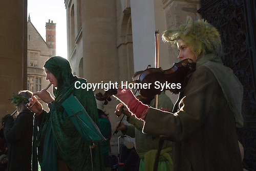 Musicians playing folk music May Morning Oxford Oxfordshire UK