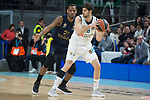 Real Madrid Santiago Yusta and Fenerbahce Dogus James Nunnally during Turkish Airlines Euroleague match between Real Madrid and Fenerbahce Dogus at Wizink Center in Madrid , Spain. March 02, 2018. (ALTERPHOTOS/Borja B.Hojas)