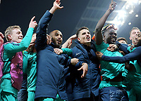 Tottenham Hotspur players celebrate at the final whistle<br /> <br /> Photographer Rich Linley/CameraSport<br /> <br /> UEFA Champions League - Quarter-finals 2nd Leg - Manchester City v Tottenham Hotspur - Wednesday April 17th 2019 - The Etihad - Manchester<br />  <br /> World Copyright © 2018 CameraSport. All rights reserved. 43 Linden Ave. Countesthorpe. Leicester. England. LE8 5PG - Tel: +44 (0) 116 277 4147 - admin@camerasport.com - www.camerasport.com