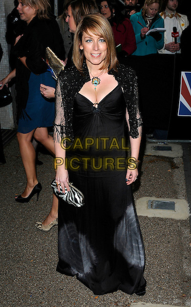 FAY RIPLEY.British Comedy Awards 2009 held at the ITV Studios, South Bank, London, England..December 12th 2009.full length black dress netting tassels silver zebra print clutch bag cleavage .CAP/CAN.©Can Nguyen/Capital Pictures.