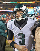 Philadelphia Eagles quarterback Mark Sanchez (3) leaves the field following his team's 27 - 24 loss to the Washington Redskins at FedEx Field in Landover, Maryland on Saturday, December 20, 2014. <br /> Credit: Ron Sachs / CNP