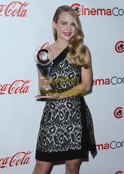 LAS VEGAS, CA - APRIL 23:  Britt Robertson poses with the Big Screen Achievement Award at the CinemaCon 2015 Big Screen Achievement Awards at the Colosseum at Caesars Palace on April 23, 2015 in Las Vegas, Nevada. <br /> CAP/MPI/PGSK<br /> &copy;PGSK/MediaPunch/Capital Pictures