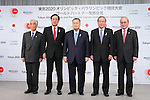 (L to R) Tsuyoshi Aoki,  Yasuhiro Sato, Yoshiro Mori,  Koichi Miyata, Mitsunori Torihara, APRIL 14, 2015 : Mizuho and Sumitomo Mitsui Financial Group has Press conference in Tokyo to announce that it has entered into a partnership agreement with the Tokyo Organising Committee of the Olympic and Paralympic Games. With this agreement, Mizuho and Sumitomo Mitsui Financial Group becomes a Gold Partner for Tokyo 2020. (Photo by YUTAKA/AFLO SPORT)