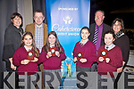 St Finians NS Waterville were the winners of the Cahersiveen Credit Union U11 table quiz pictured here in the Foilmore Community Centre on Sunday were front l-r; Emily Jouen, Saoirse Curran, Rachel Dwyer, Jessica Galvin, back l-r;  Bernadette O'Driscoll(Marketing CCU), Michael O'Connell(Chairman CCU), Denis Cournane(Secretary CCU) and Elma Shine(Manager CCU).