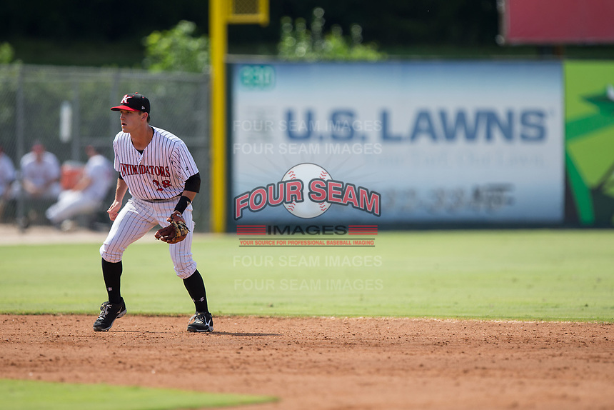 Kannapolis Intimidators shortstop Grant Massey (28) on defense against the Hagerstown Suns at Kannapolis Intimidators Stadium on July 9, 2017 in Kannapolis, North Carolina.  The Intimidators defeated the Suns 3-2 in game one of a double-header.  (Brian Westerholt/Four Seam Images)