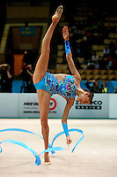 "Evgenia Kanaeva of Russia turns pivot with ribbon during seniors All-Around at 2007 World Cup Kiev, ""Deriugina Cup"" in Kiev, Ukraine on March 17, 2007."