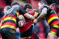 Picture by Alex Whitehead/SWpix.com - 11/02/2018 - Rugby League - Betfred Championship - Dewsbury Rams vs London Broncos - Tetleys Stadium, Dewsbury, England - London's Matthew Gee is tackled by Dewbury's Jordan Crowther and Dom Speakman.