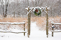 63821-174.10 Rustic fence & arbor with holiday wreath near prairie in winter, Marion Co. IL