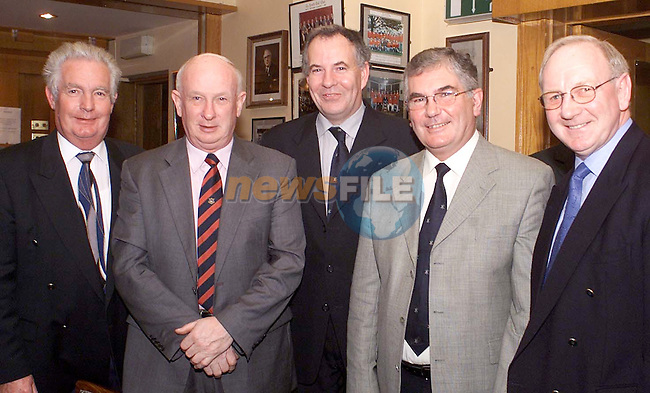 John Riordan, (Left) Richie Quirk, Cllr. Oliver Tully, Aidan Walsh and Michael Grogan at the County Louth Captains dinner held in County Louth Golf Club.
