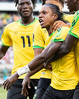 PHILADELPHIA, PA - JUNE 30: Darren Mattocks #10 celebrates with his teammates after his goal during a game between Jamaica and Panama at Lincoln Field on June 30, 2019 in Philadelphia, Pennsylvania.