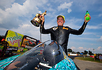 Sep 7, 2015; Clermont, IN, USA; NHRA pro stock motorcycle rider Jerry Savoie celebrates after winning the US Nationals at Lucas Oil Raceway. Mandatory Credit: Mark J. Rebilas-USA TODAY Sports
