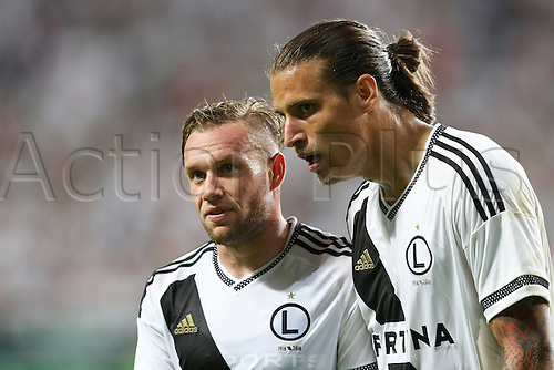03.08.2016, Warsaw, Poland,  Thibault Moulin (Legia), Aleksandar Prijovic (Legia), Legia Warsaw versus AS Trencin, Champions League, qualification. The game  ended in a 0-0 draw with Legio going through on away goal.