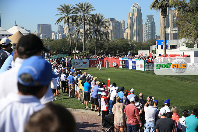 Rory McIlroy (NIR) begins Round Three of the 2016 Omega Dubai Desert Classic, played on the Emirates Golf Club, Dubai, United Arab Emirates.  06/02/2016. Picture: Golffile | David Lloyd<br /> <br /> All photos usage must carry mandatory copyright credit (&copy; Golffile | David Lloyd)